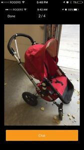 Red Frog bugaboo stroller with bassinet