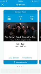 4 tickets to zac brown band sec B8 row 5