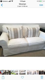 Pair of 2 x LINUM striped Hampton's style feather filled cushions.