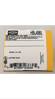 New Hubbell Twist-lock Receptacle L6-15r Hbl4560 15a 250v 2p 3w Black Outlet