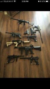 Lots of paintball guns and gear