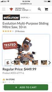 *NEW* *NEW* Evolution Multi-Purpose Sliding Mitre Saw, 10-in