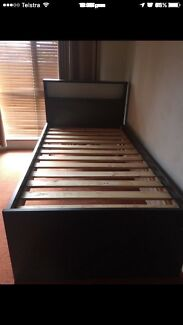 Dark grey king single bed frame in good condition $150 Pick up only