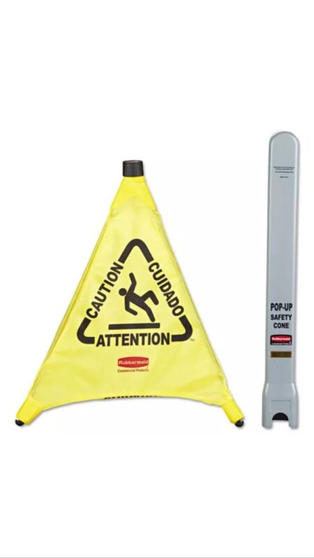 Rubbermaid Commercial Caution Safety Cone, 3-Sided, Fabric *New*