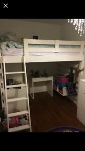 Solid wood, double loft bed