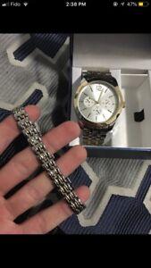 Golden watch and bracelet
