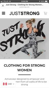 Exercise clothing coupon code Just Strong