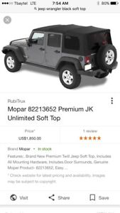 Jeep Wrangler 2015 soft top roof in black