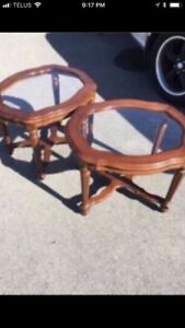 Set of Glass Topped Tables