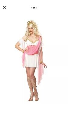 Love Goddess Costume (Womens Sexy Pink Love Goddess Princess Adult Halloween Costume Outfit)