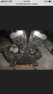 Disassembled 2003 Harley Sportster engine and Trans