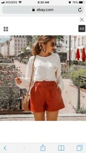 Zara Rust Faux Leather Shorts