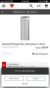 "5"" x60"" galvanized pipe"