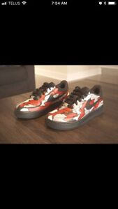Custom painted Nike Air Force one size 4y