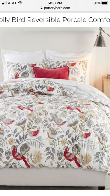 Pottery Barn Jolly Bird king size reversible comforter