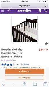 Breathable baby crib bumper