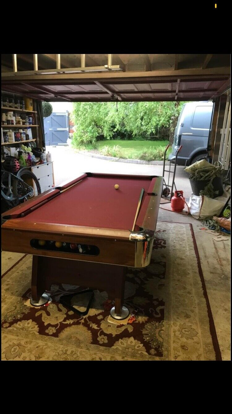 7ft american pool table red cloth free balls and cues