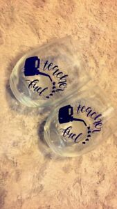 Teacher gifts, wine glasses and water bottles