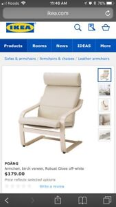 NEW! Leather IKEA Poang chair and footstool