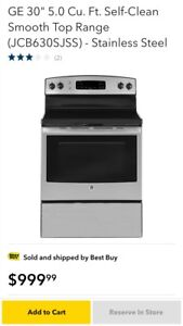 Brand new GE self cleaning stainless smooth surface range