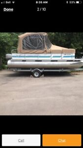1995 pontoon boat and trailer.  With encloser and 40 hp. Mariner