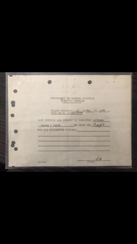 Che Guevara Signed Defence For Rebel Army 1959 , YEAR OF LIBERATION