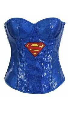Sexy Super Girl Superhero Corset Womens Fancy Dress Costume](Superhero Corset Costume)