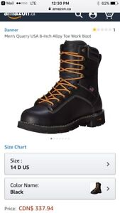 New Danner Mens Quarry USA 8-Inch Alloy Toe Work Boot-Size 14