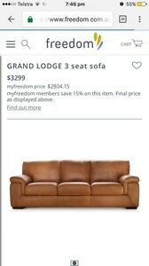 Grand Lodge 3 Seat Leather Sofa - 50% off RRP Eumemmerring Casey Area Preview