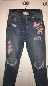 GARAGE ripped flower jeans