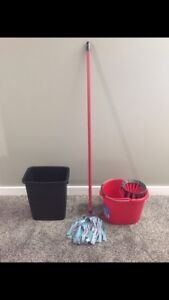 Garbage can and mop with pail