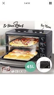 Convection Oven Electric 45L Large Bake Benchtop Hot Plate Rotisserie
