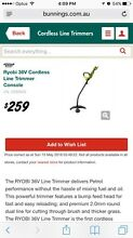Ryobi 36v whipper snipper/line trimmer + charger Edens Landing Logan Area Preview