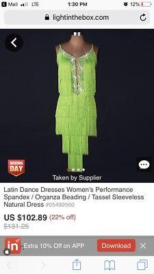 BNWT Latin Dance Neon Green Fringe Rhinestone Dress Salsa Ballroom - Ballroom Costumes