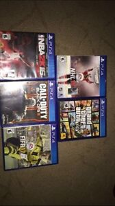 ps4 with 5 games and 4 controllers