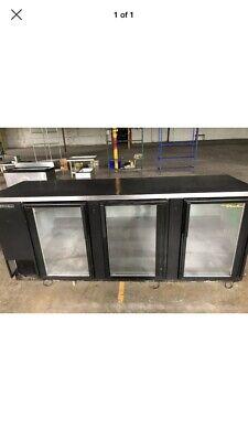 True 96 3 Door Glass Back Bar Cooler Refrigerator