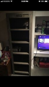 Solid wood grey bookcase