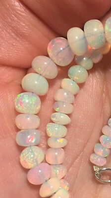50 Crt Natural Ethiopian Welo Fire Opal Round Beads Necklace 4-7mm