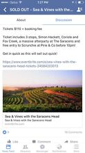 Saracens Head Sea and Vines Tickets x4 Queenstown Port Adelaide Area Preview