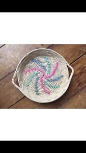 Vintage Woven Basket with Pink, Blue and Green Spiral Detail