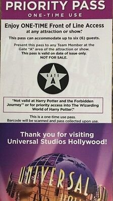 Universal Studios Hollywood Front of The Line Pass