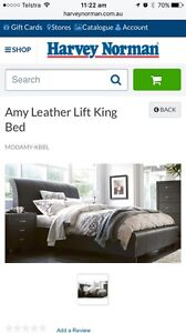 King Size Leather Bed - with under storage Jimboomba Logan Area Preview