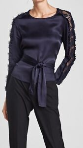 Navy blue silk top with lace sleeves