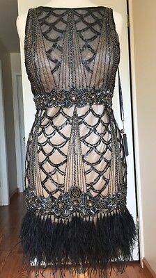 🛑 SUE WONG Black Nude Beaded Sequin GATSBY Ostrich Feather Dress 10 - Black Ostrich Feather Dress