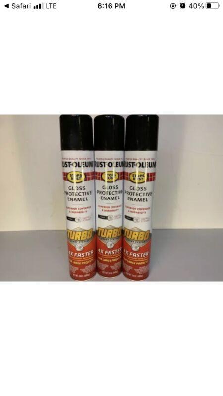 Rust-Oleum Stops Rust Turbo Spray Paint, 3 pack - 24 Oz Can Gloss Black