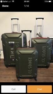 New/never used ROOTS 73' Luggage sets in green and navy