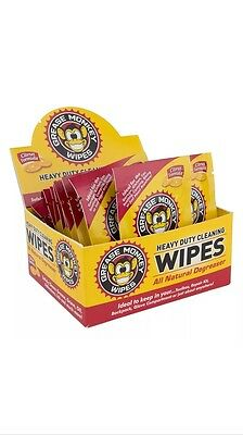 4 PACKAGES GREASE MONKEY WIPES Heavy Duty Cleaning OIL INK Grime SHARK TANK NEW
