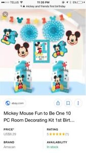 Mickey first birthday decorations boy