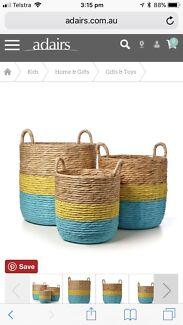 Adairs large basket Aqua Nash Woven Basket