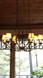 Rod iron chandelier.   Beautiful and heavy